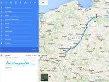 Mapka trasy Wrocław - Olsztyn